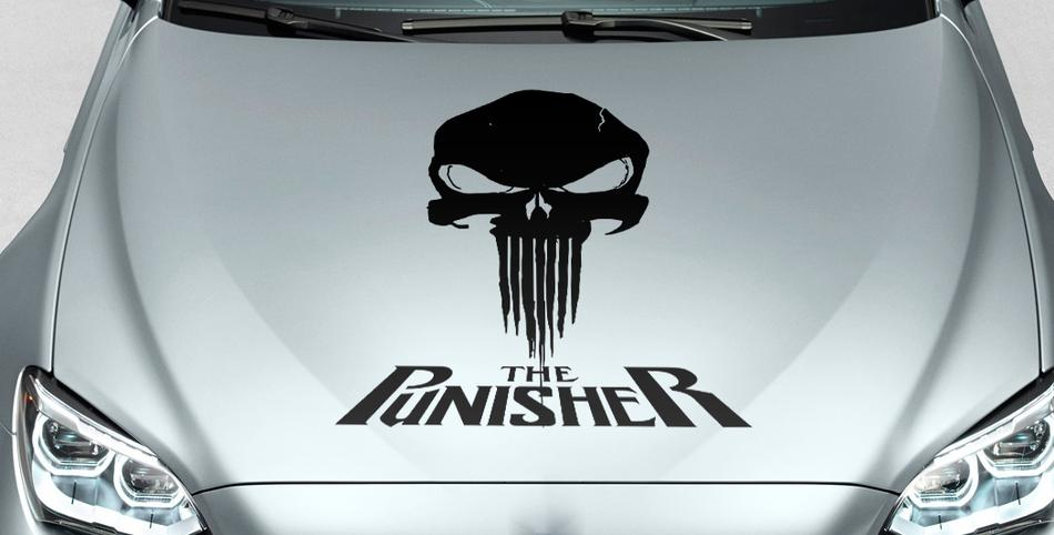 PUNISHER skull & words blood hood side vinyl decal sticker for car track suv