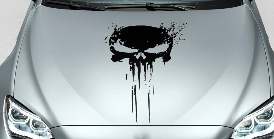 Product punisher skull distressed blood hood side vinyl decal sticker for car track suv 33