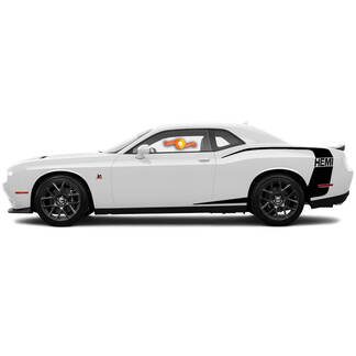 For 2015-2018 Dodge Challenger Reverse C Stripe Rear HEMI Side Stripes Decals
