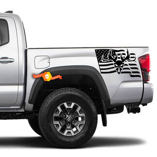 2 USA Flag Skull horn Hunting 4x4 Toyota Racing Tacoma Decal Vinyl Sticker