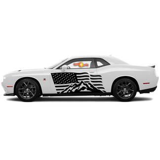 2 Seite Dodge Challenger USA Flagge Berge Tür Seite Vinyl Aufkleber Grafik Aufkleber