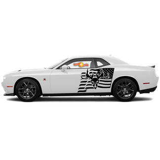 2 Seite Dodge Challenger USA Flagge Ram Schädel Tür Seite Vinyl Aufkleber Grafik Aufkleber