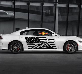 2 Side Dodge Charger USA Flag Mountains Deur Side Vinyl Decals Grafiek Sticker
