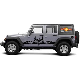 2 Side Jeep Wrangler Curved Skull Side Tocker Panel Side Vinyl Decals Grafiek Sticker