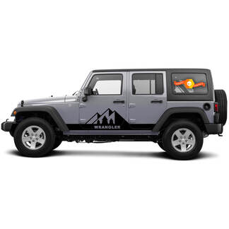 2 Side Jeep Wrangler Mountain Rocker Panel Side Vinyl Decals Graphics Sticker