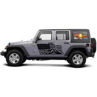 2 Side Jeep Wrangler USA Vlag Mountain Deur Side Vinyl Decals Grafiek Sticker