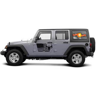 2 Side Jeep Wrangler USA Flag Mountain Skill Door Side Vinyl Decals Graphics Sticker