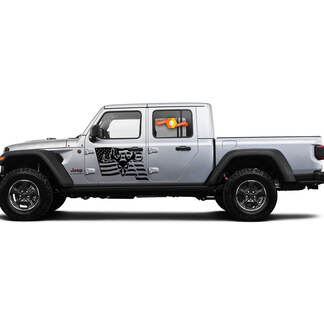 2 Side Jeep Gladiator USA Flag Mountain Skill Door Side Vinyl Decals Graphics Sticker