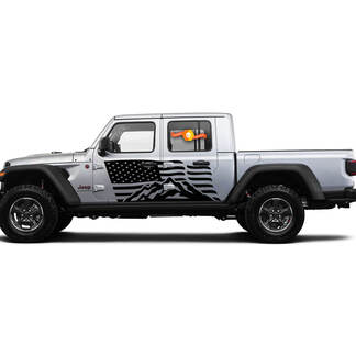 2 Side Jeep Gladiator USA Flag Mountain Door Side Vinyl Decals Graphics Sticker