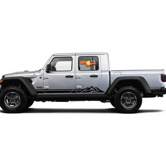 2 Side Jeep Gladiator Rocker Panel Lines Mountain Side Vinyl Decals Graphics Sticker