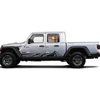2 Side Jeep Gladiator Rocker Panel Mountain Side Vinyl Decals Graphics Sticker