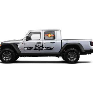 2 Side Jeep Gladiator Gebogen Skull Side Tocker Panel Side Vinyl Decals Grafiek Sticker