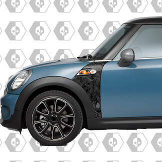 Mini Cooper Topographic Map Cover front fenders (wings) behind the front wheel on both sides Decal Sticker