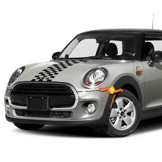 Mini Cooper Checkered Hood Flag Stripes Vinyl Decals Stickers
