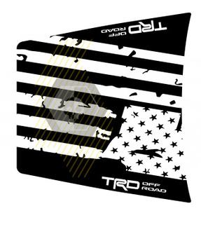 Riesige TRD 4x4 Off Road zerstört USA Flagge NO SCOOP! Hood Vinyl Stickers Aufkleber passend für Toyota Tacoma 2016 - 2020 Modelle