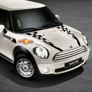 2007-2021 Mini Cooper Checkered Hood Side Back Bonnet Racing Stripes Decals