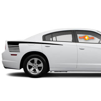2 Hockey Style Vinyl Decal Strobe Stripe graphics - Fits 2012-2021 Charger RT SXT
