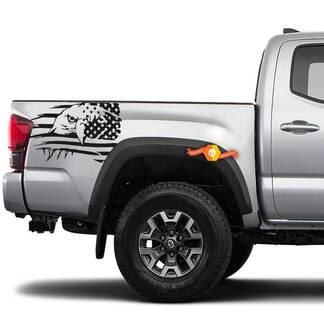 2x Nacht Vinylaufkleber für Toyota Tacoma 2016-2020 Eagle Beunruhigte USA Flaggen