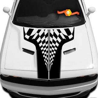 New Style Dodge Challenger Race Checkered Hood T Decal Sticker Hood graphics fits to models 09 - 14