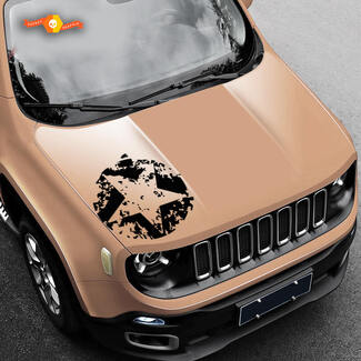 Jeep Renegade Army Star Distressed Vinyl Decal Sticker Side SUV