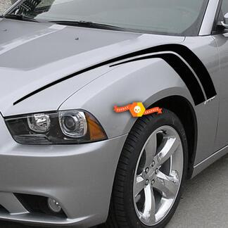 2 für 2011-2014 Dodge Ladehaubenhaube Fender Hash Marks Seitenfender Streifen Abziehbilder