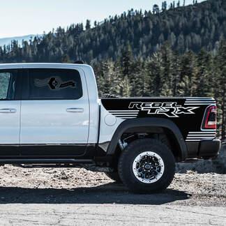Paar Dodge Rebel TRX 2021+ Splash Grunge Ram Truck Vinyl Decal Bedafbeelding