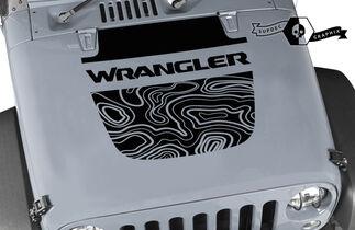 Jeep Wrangler Graphics kit Vinyl Wrap Decal Blackout Contour Map Hood split style Decal