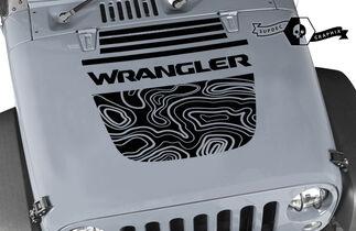 Jeep Wrangler Graphics kit Vinyl Wrap Decal Blackout Contour Map Hood Split Strobe style Decal