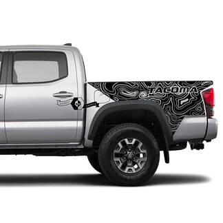 2x Nachtvinylaufkleber für Toyota Tacoma 2016-2021 Topographische Karte