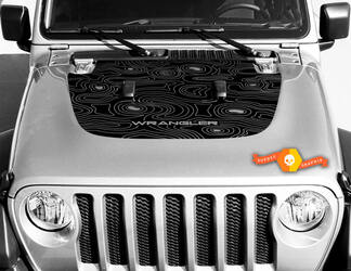 Jeep Hood Vinyl Blackout Topographic Map Decal Sticker Text Wrangler