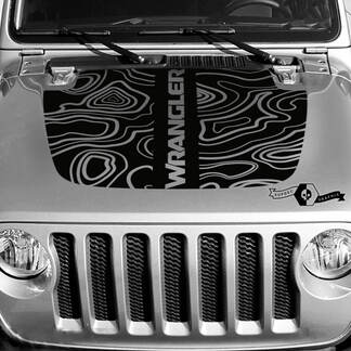 New Jeep Hood Vinyl Blackout Topographic Map Decal Sticker Text Wrangler