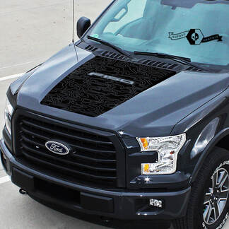 New Ford F-150 F150 Outline Contour Map hood graphics decal sticker