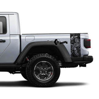 2 Jeep Gladiator Graphics kit Vinyl Wrap Decal Contour Map Side Bed Stripe Decal