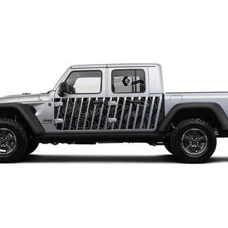 Jeep Gladiator Side Side Door Splash unique Wrap Decal Contour Map Vinyl decal sticker Graphics kit for JT 2018-2021