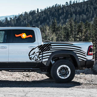 Paar Dodge TRX 2021+ Deur Bed USA Vlag Hellcat Side Stripe Grunge Truck Vinyl Decal Grafisch