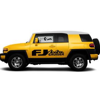 Paar TOYOTA FJ Cruiser Mountains Seitentür Vinyl Abziehbilder Grafiken Rallye Aufkleber Kit