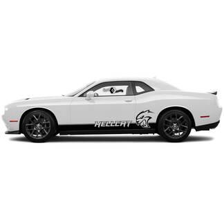 2x Nieuwe Dodge Challenger SRT Hellcat Rocker Panel Decals Stripe Vinyl Graphics