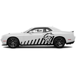 Paar Slopped Zijdeur Rocker Panel Racing Strepen Decals voor Dodge Challenger Hellcat Vinyl Decals Stickers