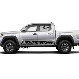Pair Stripes for Tacoma Side Rocker Mountains Panel Vinyl Stickers Decal fit to Toyota Tacoma