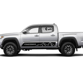 Pair Stripes for Tacoma Side Rocker Mountains TRD or Custom Text Panel Vinyl Stickers Decal fit to Toyota Tacoma