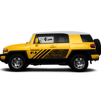 Pair Toyota FJ Cruiser Side Doors Stripe Decal Truck Wrap Sticker