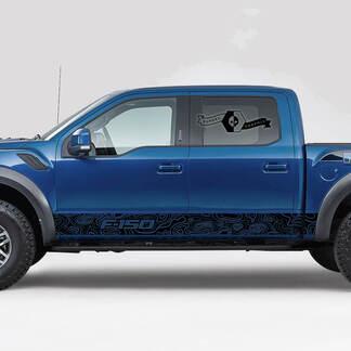Nieuwe Ford F-150 Raptor Overzicht Kaart Side Rocker Decals Stripes Graphics