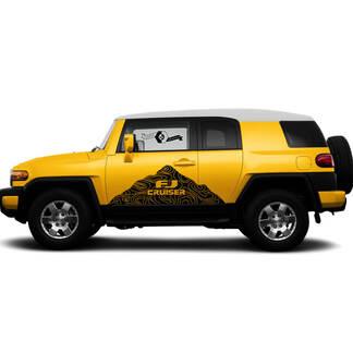 Pair Toyota FJ Cruiser Side Doors Mountains Contour Map Stripe Decal Truck Wrap