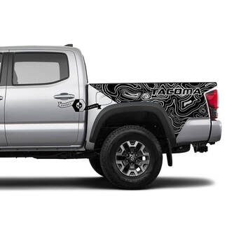 Toyota TACOMA Outline Map lines bed style graphics side stripe decal