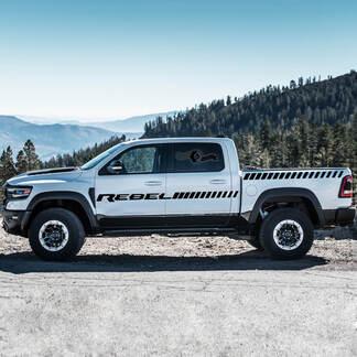 Paar Dodge Rebel 2021 Deuren Zijbed Stripe RAM Truck Vinyl Decal Bedafbeelding