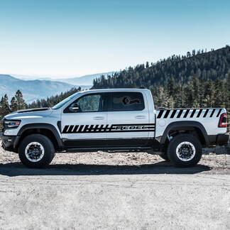 Paar Dodge Rebel 2021 Deuren Zijbed Streep Strobe RAM-truck Vinyl Decal Bedafbeelding
