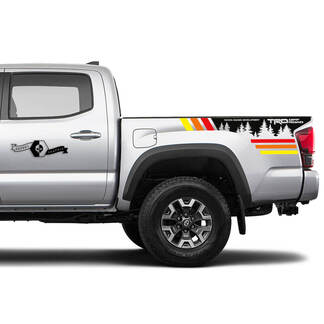 TRD 4x4 Off-Road Trees Vintage Colors BedSide Side Vinyl Stickers Decal fit to Toyota Tacoma Tundra all years