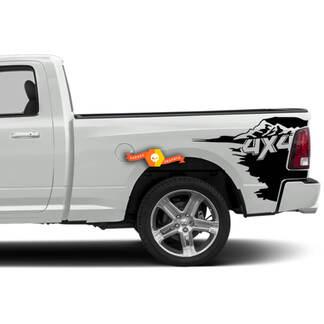 Mountain 4x4 Bed Decal Sticker Grafisch voor RAM Regelmatige Cabine 3500 Side Off Bed Road RT