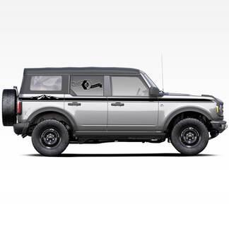 Paar Bergen Stijl Rocker Panel Side Stripes Decals Stickers voor Ford Bronco 2021 - Nu
