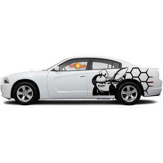 Paar Side Scat Pack Bee Honeycomb Dodge Challenger of Charger Decals Stickers